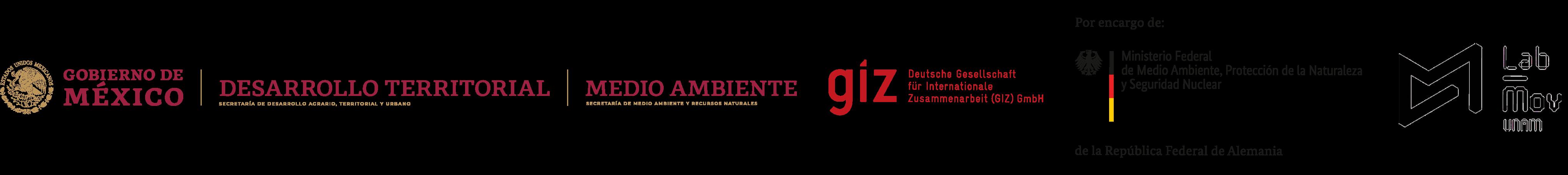 Logotipos de SEDATU, SEMARNAT, LabMov y GIZ